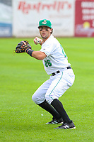 Clinton LumberKings shortstop Johnny Adams (26) warms up in the outfield prior to a Midwest League game against the Lansing Lugnuts on July 15, 2018 at Ashford University Field in Clinton, Iowa. Clinton defeated Lansing 6-2. (Brad Krause/Four Seam Images)