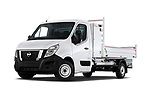 Stock pictures of low aggressive front three quarter view of 2020 Nissan NV400-Tipper Acenta 2 Door Chassis Cab Low Aggressive