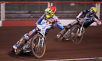 Heat 8: Kim Nilsson (red) and Richie Worrall (yellow) - Lakeside Hammers vs Kings Lynn Stars, Elite League Speedway at the Arena Essex Raceway, Pufleet - 23/04/13 - MANDATORY CREDIT: Rob Newell/TGSPHOTO - Self billing applies where appropriate - 0845 094 6026 - contact@tgsphoto.co.uk - NO UNPAID USE.