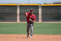 Arizona Diamondbacks shortstop Jose Caballero (13) makes a throw to first base during an Extended Spring Training game against the Cleveland Indians at the Cleveland Indians Training Complex on May 27, 2018 in Goodyear, Arizona. (Zachary Lucy/Four Seam Images)