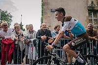 Romain Bardet (FRA/AG2R-LaMondiale) sweeping by at the Team presentation in La Roche-sur-Yon<br /> <br /> Le Grand Départ 2018<br /> 105th Tour de France 2018<br /> ©kramon