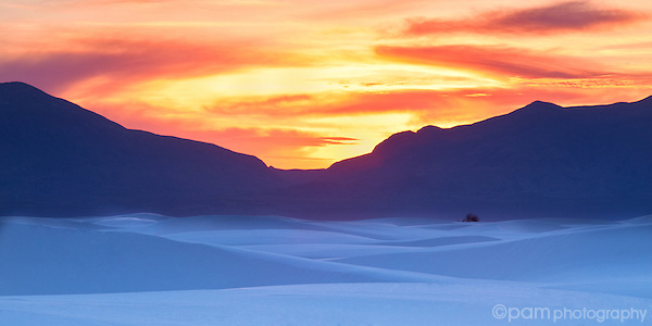 Sunset over White Sands New Mexico