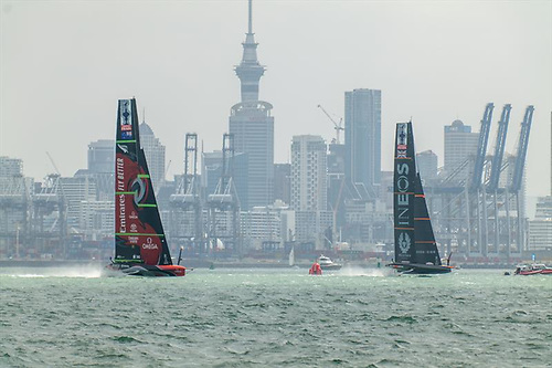 The image has moved on from a coal-mining town in Durham – the waterfront in Auckland, with America's Cup action being played out