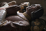 Goudhurst, St Mary's  Church Kent, Uk. Sir Alexander Culpeper  d 1541 and his wife Constance.  He used his iron foundries in Bedgebury to cast guns for the fleet that fought the Spanish Armada..He and his wife, Constance are commemorated in a wooden painted effigy in the church. It was carved and painted in 1537 during the Reformation, and is one of only eighty or so of its kind in the country. His head rests on his Knights helmet. 2016 2010