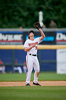 Harrisburg Senators second baseman Dan Gamache (21) settles under a pop up during the first game of a doubleheader against the New Hampshire Fisher Cats on May 13, 2018 at FNB Field in Harrisburg, Pennsylvania.  New Hampshire defeated Harrisburg 6-1.  (Mike Janes/Four Seam Images)