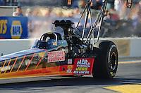 Oct. 14, 2011; Chandler, AZ, USA; NHRA top fuel dragster driver Doug Kalitta during qualifying at the Arizona Nationals at Firebird International Raceway. Mandatory Credit: Mark J. Rebilas-