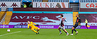 4th October 2020, Villa Park, Birmingham, England;  Aston Villas Jack Grealish shoots and scores for 6-2 during the English Premier League match between Aston Villa and Liverpool at Villa Park in Birmingham