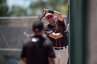 San Francisco Giants Black first baseman Trevor Abrams (39) attempts to make a catch against the fence during an Extended Spring Training game against the Los Angeles Angels at the San Francisco Giants Training Complex on May 25, 2018 in Scottsdale, Arizona. (Zachary Lucy/Four Seam Images)