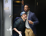 "Alex Brightman with Johnny Brantley during hi Broadway debut in ""Beetlejuice"" photo shoot at the Winter Garden Theatre on April 22, 2019 in New York City."
