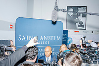 Democratic presidential candidate and former Massachusetts governor Deval Patrick speaks to the media during a gaggle after speaking at Politics & Eggs at the New Hampshire Institute of Politics at Saint Anselm College in Manchester, New Hampshire, on Mon., November 25, 2019. Patrick is one of the latest entrants to the already crowded Democratic primary field, having only declared his candidacy the week before in mid-Nov. 2019.