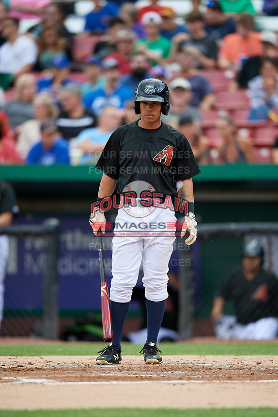 Kane County Cougars center fielder Gabriel Maciel (5) at bat during a game against the South Bend Cubs on July 21, 2018 at Northwestern Medicine Field in Geneva, Illinois.  South Bend defeated Kane County 4-2.  (Mike Janes/Four Seam Images)