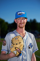 Hudson Valley Renegades pitcher Travis Ott (28) poses for a photo before a game against the Batavia Muckdogs on August 1, 2016 at Dwyer Stadium in Batavia, New York.  Hudson Valley defeated Batavia 5-1.  (Mike Janes/Four Seam Images)