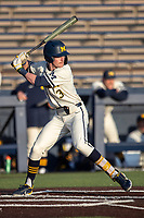 Michigan Wolverines pinch hitter Ted Burton (3) at bat during the NCAA baseball game against the Illinois Fighting Illini at Fisher Stadium on March 19, 2021 in Ann Arbor, Michigan. Illinois won the game 7-4. (Andrew Woolley/Four Seam Images)