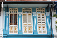 Singapore.  Emerald Hill Road.  Decoration on Upper Floor of a Traditional  Early Twentieth Century Chinese House.
