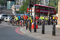 UK, England, London.  Cyclists in Morning Rush Hour, Westminster.