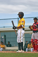 FCL Pirates Gold Jasiah Dixon (6) bats during a game against the FCL Red Sox on July 1, 2021 at Pirate City in Bradenton, Florida.  (Mike Janes/Four Seam Images)