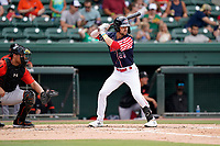 Right fielder Wil Dalton (26) of the Greenville Drive in a game against the Aberdeen IronBirds on Sunday, July 11, 2021, at Fluor Field at the West End in Greenville, South Carolina. The catcher is Christopher Burgess (24). (Tom Priddy/Four Seam Images)