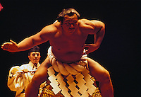 Yokozuna Chiyonofuji performing sumo wrestling ring-entering ceremony in Hawaii in June 1984