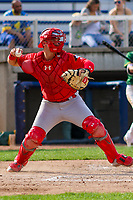 Peoria Chiefs catcher Andrew Knizner (21) throws down to second base between innings during a Midwest League game against the Beloit Snappers on April 15, 2017 at Pohlman Field in Beloit, Wisconsin.  Beloit defeated Peoria 12-0. (Brad Krause/Four Seam Images)