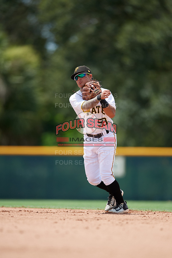 GCL Pirates second baseman Francisco Acuna (58) throws to first base during a game against the GCL Tigers West on August 13, 2018 at Pirate City Complex in Bradenton, Florida.  GCL Tigers West defeated GCL Pirates 5-1.  (Mike Janes/Four Seam Images)