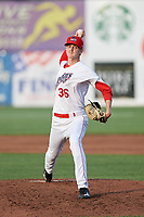 Auburn Doubledays relief pitcher Chandler Day (36) delivers a pitch during a game against the Lowell Spinners on July 13, 2018 at Falcon Park in Auburn, New York.  Lowell defeated Auburn 8-5.  (Mike Janes/Four Seam Images)
