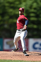 Mahoning Valley Scrappers pitcher Edward Estrella (49) delivers a pitch during a game against the Jamestown Jammers on June 15, 2014 at Russell Diethrick Park in Jamestown, New York.  Jamestown defeated Mahoning Valley 9-4.  (Mike Janes/Four Seam Images)