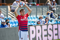 SAN JOSE, CA - APRIL 24: Paxton Pomykal #19 of FC Dallas prepares for a throw in during a game between FC Dallas and San Jose Earthquakes at PayPal Park on April 24, 2021 in San Jose, California.
