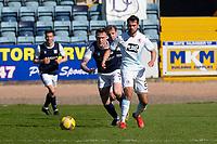 24th April 2021; Dens Park, Dundee, Scotland; Scottish Championship Football, Dundee FC versus Raith Rovers; Reghan Tumilty of Raith Rovers and Jordan McGhee of Dundee