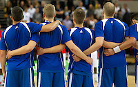 20 AUG 2014 - LONDON, GBR - The Iceland men's team listen as the national anthems are played ahead of their men's 2015 EuroBasket 3rd Qualifying Round game against Great Britain at the Copper Box Arena in the Queen Elizabeth Olympic Park in Stratford, London, Great Britain (PHOTO COPYRIGHT © 2014 NIGEL FARROW, ALL RIGHTS RESERVED)