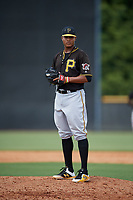 Pittsburgh Pirates pitcher Sergio Cubilete (28) looks in for the sign during a Florida Instructional League game against the New York Yankees on September 25, 2018 at Yankee Complex in Tampa, Florida.  (Mike Janes/Four Seam Images)