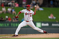 Starting pitcher Darwinzon Hernandez (51) of the Greenville Drive delivers a pitch in a game against the Charleston RiverDogs on Thursday, July 27, 2017, at Fluor Field at the West End in Greenville, South Carolina. Charleston won, 5-2. (Tom Priddy/Four Seam Images)