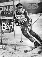 Doug Woodcock; shown competing in world pro ski event earlier this year; is planning to spend three or four more years on circuit. By that time; he hopes to have realized his full potential as a racer and go on to other pursuits.<br /> <br /> Photo : Boris Spremo - Toronto Star archives - AQP