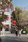 Turkey, Province Antalya, Kalkan: Bougainvillea lined street in the old town | Tuerkei, Provinz Antalya, Kalkan: Altstadtgasse mit Bougainvillea