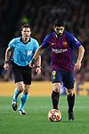 UEFA Champions League 2018/2019.<br /> Quarter-finals 2nd leg.<br /> FC Barcelona vs Manchester United: 3-0.<br /> Luis Suarez.