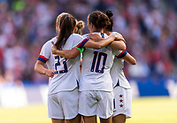 PARIS,  - JUNE 16: Carli Lloyd #10 celebrates her goal with Morgan Brian #6 and Christen Press #23 during a game between Chile and USWNT at Parc des Princes on June 16, 2019 in Paris, France.