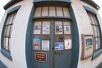 Lighthouse Door at Lime Kiln State Park (Fisheye), San Juan Island, Washington, US