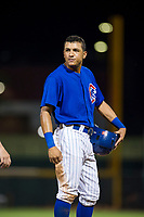 AZL Cubs center fielder Jose Gutierrez (91) stands on third base during a game against the AZL Brewers on August 6, 2017 at Sloan Park in Mesa, Arizona. AZL Cubs defeated the AZL Brewers 8-7. (Zachary Lucy/Four Seam Images)