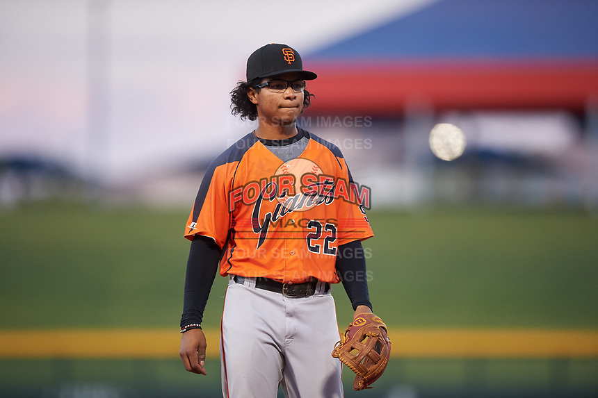 AZL Giants Orange third baseman Luis Toribio (22) during an Arizona League game against the AZL Cubs 1 on July 10, 2019 at Sloan Park in Mesa, Arizona. The AZL Giants Orange defeated the AZL Cubs 1 13-8. (Zachary Lucy/Four Seam Images)