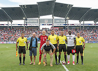Commerce City, CO - Thursday June 08, 2017: Michael Bradley, coin toss during a 2018 FIFA World Cup Qualifying Final Round match between the men's national teams of the United States (USA) and Trinidad and Tobago (TRI) at Dick's Sporting Goods Park.