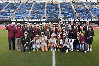 SAN JOSE, CA - MAY 22: The NCAA Champion Santa Clara women's soccer team before a game between Sporting Kansas City and San Jose Earthquakes at PayPal Park on May 22, 2021 in San Jose, California.