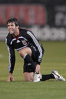 DC United midfielder Ben Olsen (14) looks to the referee after being fouled during play. The Kansas City Wizards defeated DC United 4-2, in the home opening game for DC United at RFK Stadium, April 14, 2007.