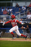Batavia Muckdogs third baseman Javier Lopez (5) at bat during a game against the West Virginia Black Bears on August 31, 2015 at Dwyer Stadium in Batavia, New York.  Batavia defeated West Virginia 5-4.  (Mike Janes/Four Seam Images)