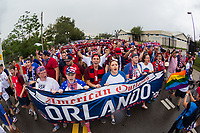 Orlando, FL - Friday Oct. 06, 2017: American Outlaws March to Stadium during a 2018 FIFA World Cup Qualifier between the men's national teams of the United States (USA) and Panama (PAN) at Orlando City Stadium.