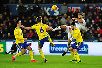 Maxime Colin of Birmingham City is fouled by Cameron Carter-Vickers of Swansea City during the Sky Bet Championship match between Swansea City and Birmingham City at the Liberty Stadium in Swansea, Wales, UK. Tuesday 29 January 2019