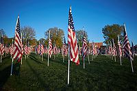 November 6, 2020: The Kannapolis Cannon Ballers have organized A Field of Honor tribute to veterans at Atrium Health Ballpark in Kannapolis, NC. There are 500 flags on display and a flag can be purchased to honor a veteran.  (Brian Westerholt/Four Seam Images)