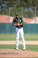 Oakland Athletics relief pitcher Calvin Coker (41) during an Instructional League game against the Chicago White Sox at Lew Wolff Training Complex on October 5, 2018 in Mesa, Arizona. (Zachary Lucy/Four Seam Images)