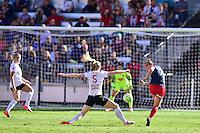 Houston, TX - Sunday Oct. 09, 2016: Samantha Mewis, Christine Nairn during a National Women's Soccer League (NWSL) Championship match between the Washington Spirit and the Western New York Flash at BBVA Compass Stadium.