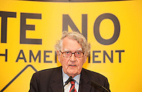 NO REPRO FEE. 252/10/2011. VOTE NO TO THE 30TH AMENDMENT. Pictured at a public meeting about sound reasons to Vote No to the 30th Amendment to the Constitution (Oireachtas Inquiries) hosted by the Irish council for Civil Liberties at the National Library Kildare St. Dublin is Dr Maurice Hayes former Senator and Northern Ireland Ombudsman. Picture James Horan/Collins Photos.