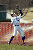 High Point Panthers first baseman Cole Singsank (16) settles under a pop fly in foul territory during the game against the Bryant Bulldogs at Williard Stadium on February 21, 2021 in  Winston-Salem, North Carolina. The Panthers defeated the Bulldogs 3-2. (Brian Westerholt/Four Seam Images)
