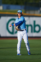 Omaha Storm Chasers Nick Pratto (32) warms up before a game against the Iowa Cubs on August 14, 2021 at Werner Park in Omaha, Nebraska. Omaha defeated Iowa 6-2. (Zachary Lucy/Four Seam Images)